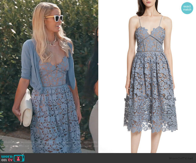 Azaelea 3D Lace Fit and Flare Dress by Self Portrait worn by Paris Hilton on Keeping Up with the Kardashians