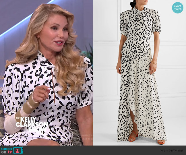 Open-back leopard-print Maxi Dress by Self Portrait worn by Christie Brinkley on The Kelly Clarkson Show
