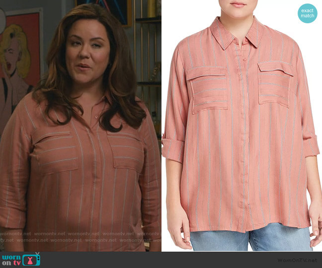 Striped Roll-Cuff Shirt by Seven7 Jeans worn by Kattie Otto (Katy Mixon) on American Housewife