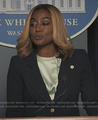 Daisy's black gold button blazer on Madam Secretary