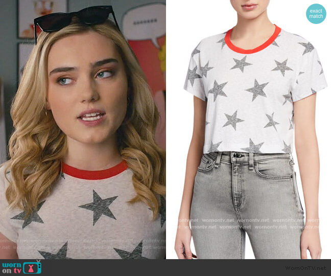 Lakeside Cropped Star-Print Tee by Splendid worn by Taylor Otto (Meg Donnelly) on American Housewife