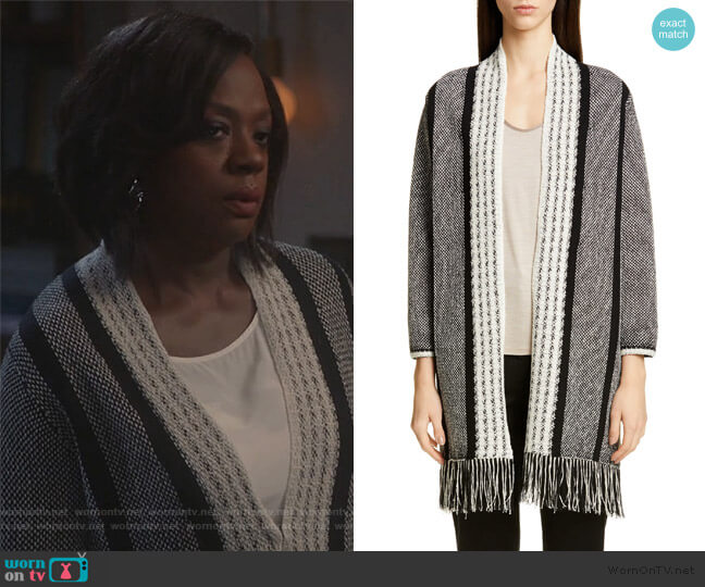 Linear Basket Stripe Knit Cardigan by St. John Collection worn by Annalise Keating (Viola Davis) on HTGAWM