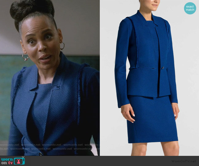 Sleeveless Gridded Texture Knit Dress and Jacket by St. John Collection worn by Tegan Price (Amirah Vann) on HTGAWM