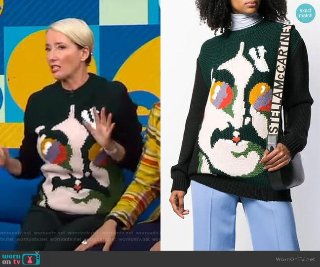 John Lennon Sweater by Stella McCartney worn by Emma Thompson on GMA