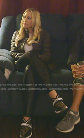 Stephanie's black Fendi logo print sneakers on The Real Housewives of Dallas