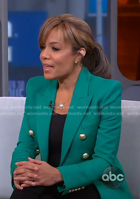 Sunny's green blazer on GMA Strahan Sara And Keke