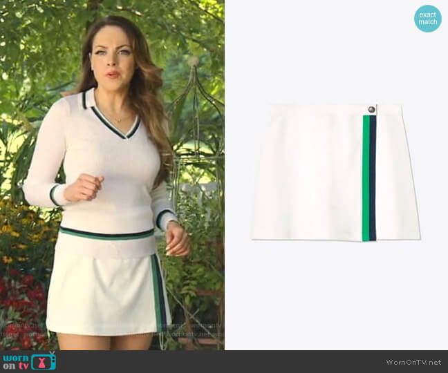 Tech Twill Double-Stripe Wrap Skirt by Tory Sport worn by Fallon Carrington (Elizabeth Gillies) on Dynasty