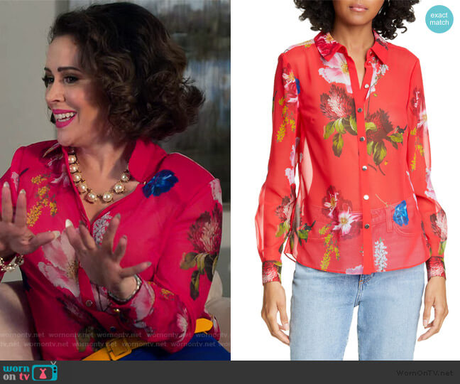 Eevilin Floral Chiffon Blouse by Ted Baker worn by Coralee Armstrong (Alyssa Milano) on Insatiable