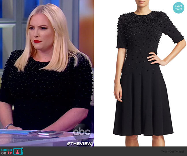 Beaded Sleeveless Crepe A-Line Dress by Teri Jon worn by Meghan McCain  on The View