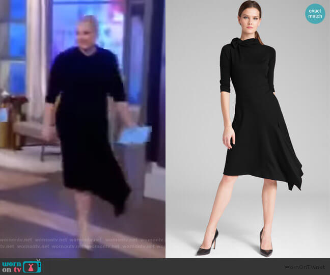Long Sleeve Ponte Bow Neck Asymmetrical Skirt Dress by Teri Jon worn by Meghan McCain  on The View