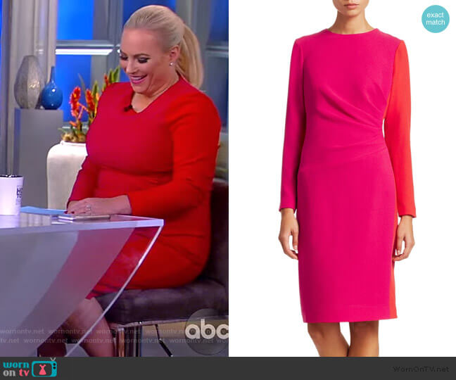 Draped Wool Sheath Dress by Teri Jon worn by Meghan McCain  on The View