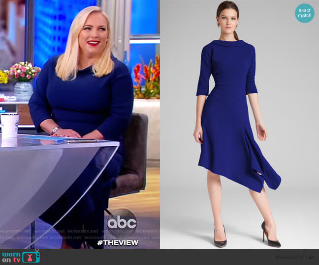 Roll Neck Asymmetrical Crepe Dress by Teri Jon worn by Meghan McCain  on The View