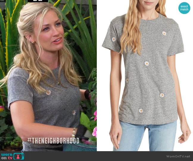 The Great The Embroidered Slim Tee worn by Gemma (Beth Behrs) on The Neighborhood