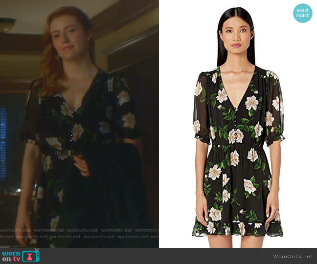 Floral Print Short Dress by The Kooples worn by Nancy Drew (Kennedy McMann) on Nancy Drew