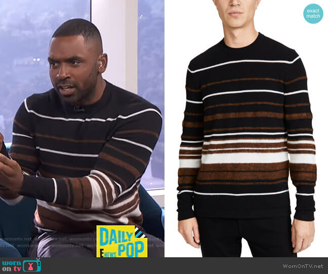 Hilles Stripe Cashmere Sweater by Theory worn by Justin Sylvester  on E! News