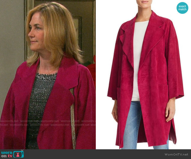 Theory Suede Kimono Coat worn by Eve Donovan (Kassie DePaiva) on Days of our Lives