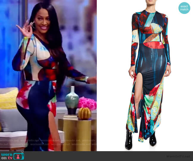Abstract Multicolor Jersey Maxi Dress by Thierry Mugler worn by La La Anthony on The View