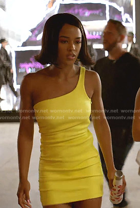 Tiana's yellow one-shoulder mini dress on Empire