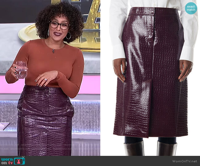 Croc-Embossed Patent Trouser Skirt by Tibi worn by Tamera Mowry  on The Real