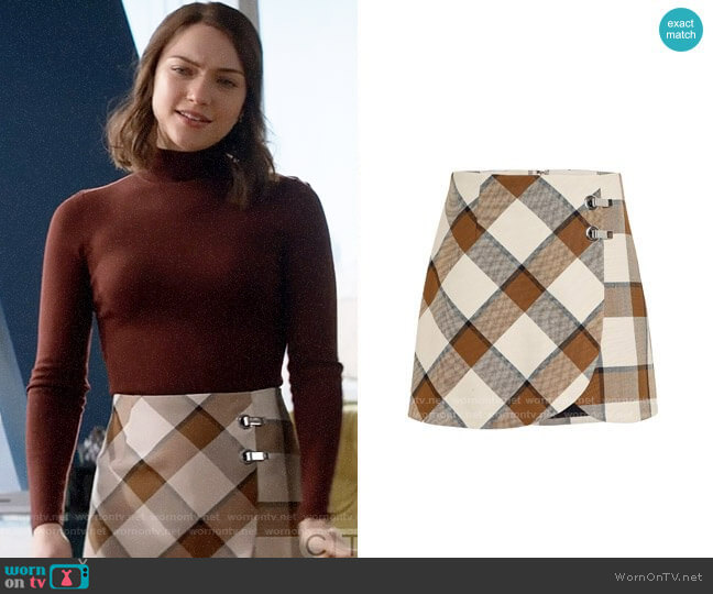 Tibi Dylan Plaid Skirt worn by Cara Bloom (Violett Beane) on God Friended Me