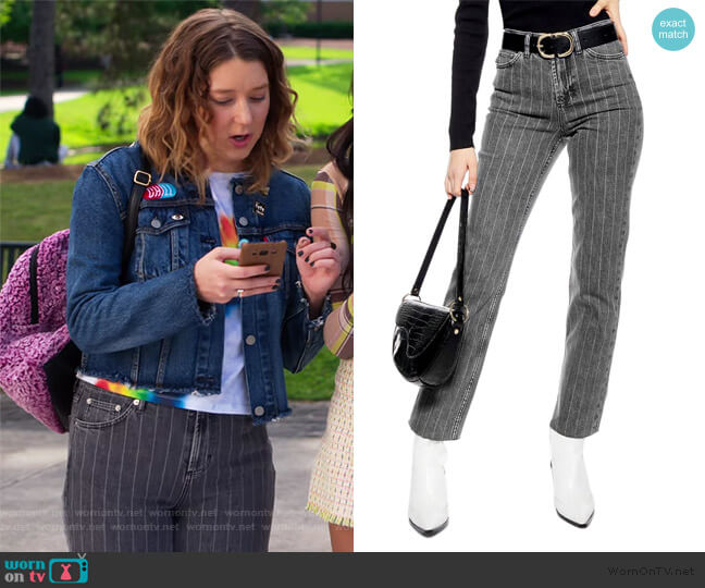 High Waist Pinstripe Jeans by Topshop worn by Nonnie Thompson (Kimmy Shields) on Insatiable