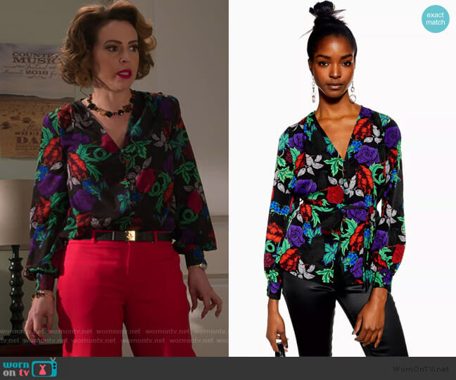 Floral Print Button Front Blouse by Topshop worn by Coralee Armstrong (Alyssa Milano) on Insatiable