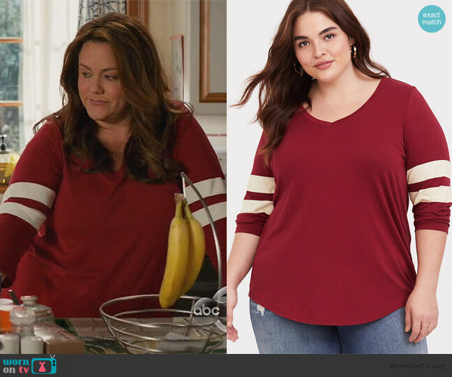 Dark Red V-Neck Football Tee by Torrid worn by Kattie Otto (Katy Mixon) on American Housewife