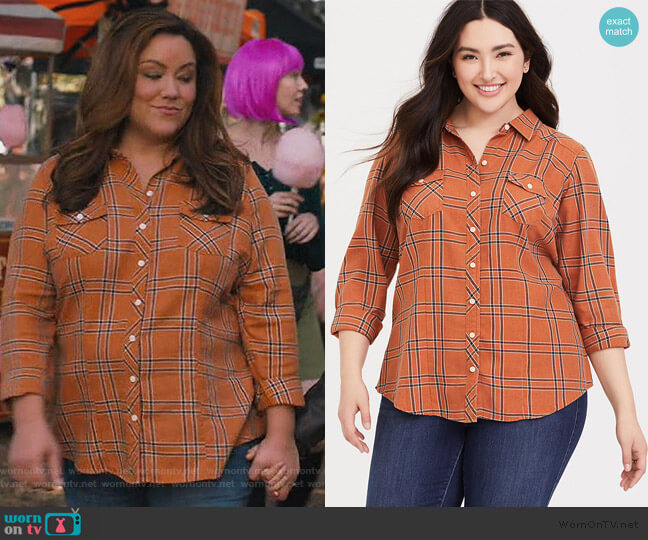 Taylor Dusty Orange Shirt by Torrid worn by Katie Otto (Katy Mixon) on American Housewife