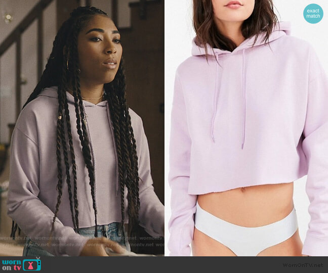 Out From Under Cropped Hoodie Sweatshirt by Urban Outfitters worn by Peri (Adriyan Rae) on Light as a Feather