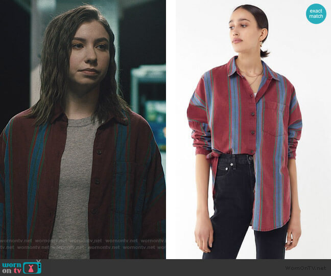 Striped Twill Button-Down Shirt by Urban Outfitters worn by Sammi Karras (Katelyn Nacon) on Light as a Feather