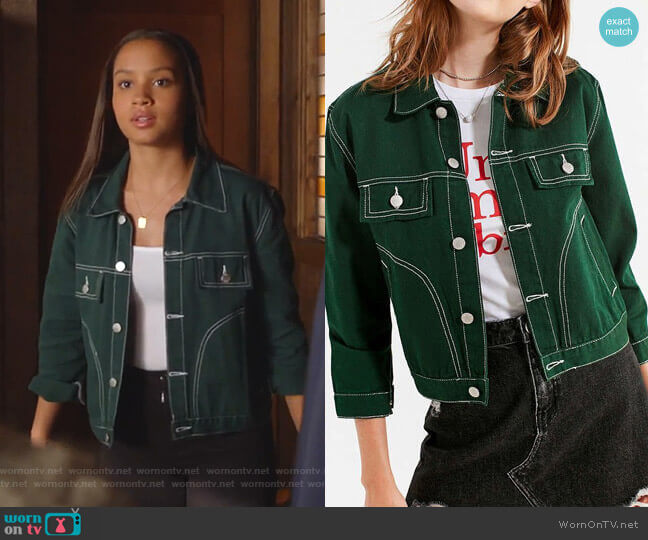 UNIF Woody Green Denim Jacket by Urban Outfitters worn by May Grant (Corinne Massiah) on 9-1-1