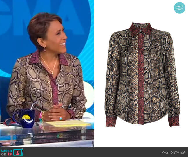 Slim Snake-Printed Silk Shirt by Victoria Beckham worn by Robin Roberts  on Good Morning America