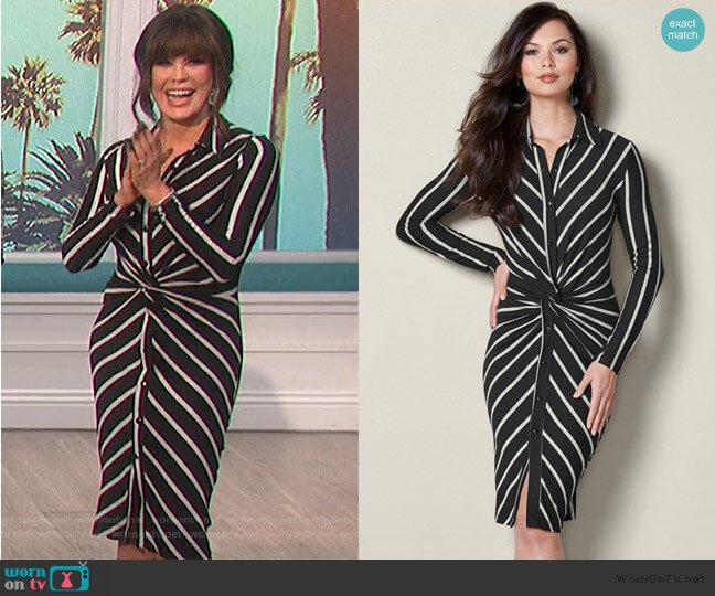Knot Detail Shirt Dress by Venus worn by Marie Osmond  on The Talk