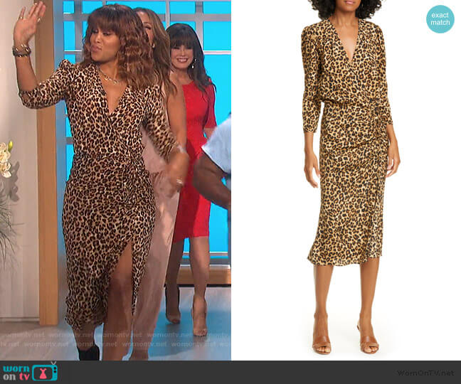 Arielle Leopard Print Stretch Silk Midi Dress by Veronica Beard worn by Eve  on The Talk
