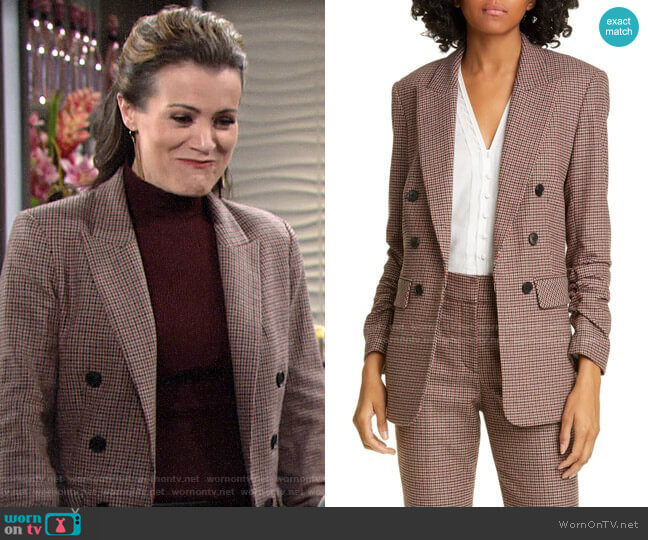 Veronica Beard Beacon Check Dickey Jacket worn by Chelsea Lawson (Melissa Claire Egan) on The Young & the Restless