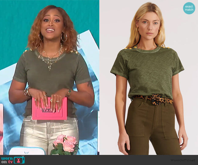 Carla S Tee with Buttoned Shoulders by Veronica Beard worn by Eve  on The Talk