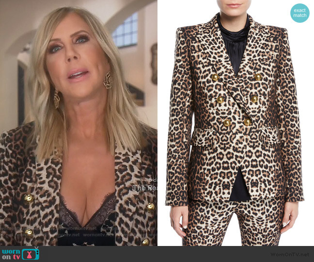 Miller Double-Breasted Leopard-Print Jacket by Veronica Beard worn by Vicki Gunvalson  on The Real Housewives of Orange County