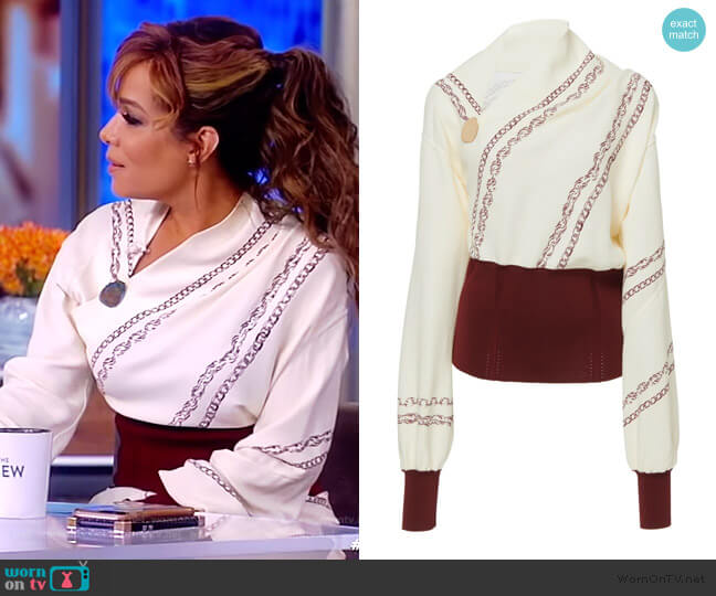 Knit-Trimmed Printed Crepe Blouse by Victoria Beckam worn by Sunny Hostin  on The View