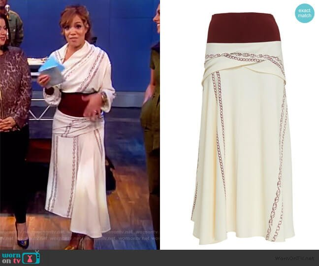Knit-Trimmed Printed Crepe Midi Skirt by Victoria Beckam worn by Sunny Hostin  on The View