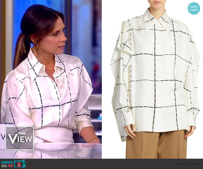 Scarf-Detail Check Silk Blouse by Victoria Beckham worn by Victoria Beckham on The View