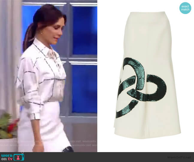 Sequined Flared Crepe Midi-Skirt by Victoria Beckham worn by Victoria Beckham on The View