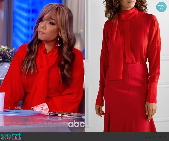 Pussy-bow silk crepe de chine blouse and Skirt by Victoria Beckham worn by Sunny Hostin  on The View