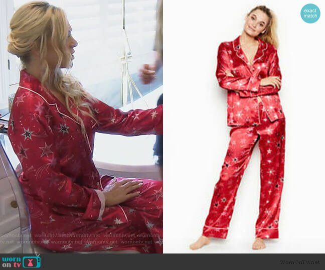 Satin Red After Hours Star Pajamas by Victoria Secret worn by Tamra Judge  on The Real Housewives of Orange County