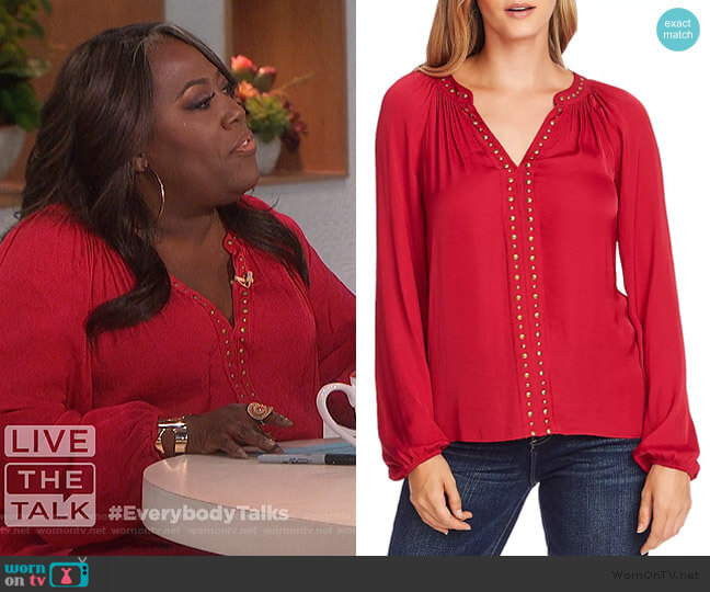 Stud-Trimmed Satin Blouse by Vince Camuto worn by Sheryl Underwood  on The Talk
