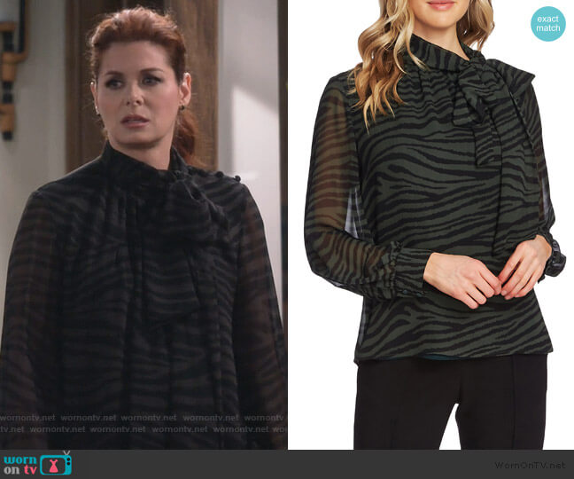 Tranquil Animal Print Tie Neck Chiffon Blouse by Vince Camuto worn by Grace Adler (Debra Messing) on Will & Grace