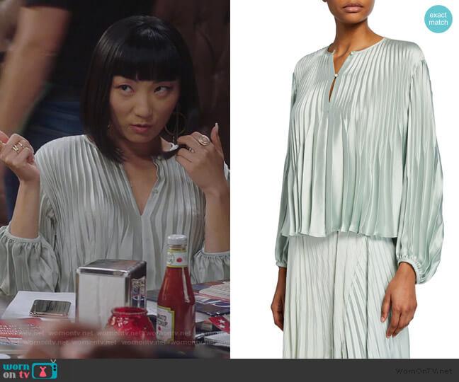Chevron Pleat Long Sleeve Top by Vince worn by Mei Lin (Poppy Liu) on Sunnyside