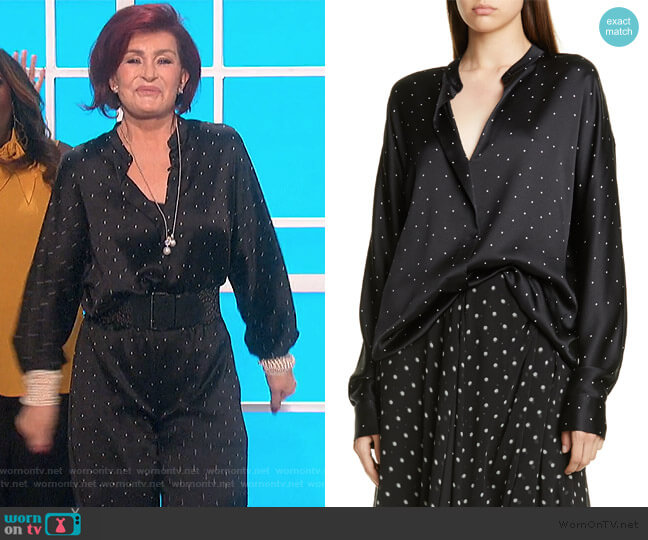 Dot Print Popover Silk Blouse by Vince worn by Sharon Osbourne  on The Talk