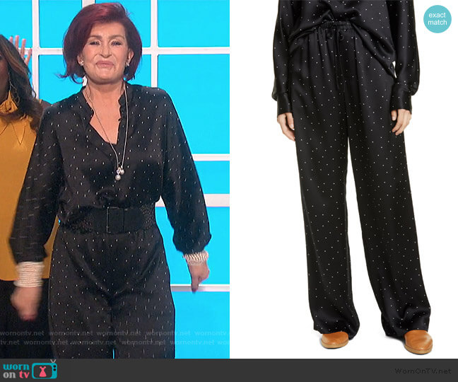 Dot Print Silk Pants by Vince worn by Sharon Osbourne  on The Talk