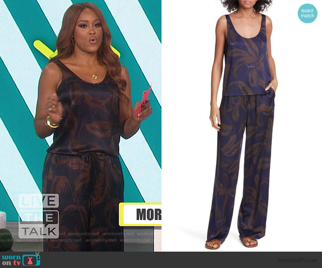 Palm Leaf Scoop-Neck Satin Tank and Pants by Vince worn by Eve  on The Talk