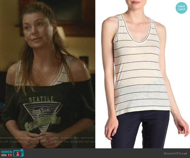 Skinny Stripe Tank Top by Vince worn by Meredith Grey (Ellen Pompeo) on Greys Anatomy